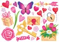 Vector elements for romantic design or Valentines day. Cartoon bright illustrations.