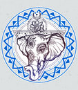 Vector elephant with lotus and sacred geometry.