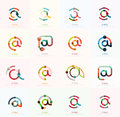 Vector email business symbols or at signs logo set. Linear minimalistic flat icon design collection Royalty Free Stock Photo