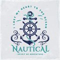 Vector emblem with anchor and steering wheel. Nautical illustrat