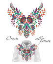 Vector embroidery ethnic flowers neck pattern. Blue flower design graphics fashion wearing. Presented on the white shirt