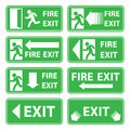 Vector emergency exit signs set on green Royalty Free Stock Photo