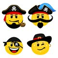 Vector emoticon set of pirates. Royalty Free Stock Photo