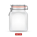 Vector empty Bale Square Glass Jar with Swing Top Lid isolated over the white background Royalty Free Stock Photo