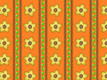 Vector Eps 10 Orange Wallpaper with Yellow Flowers Stock Photography
