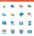 Vector eps icons set - marketing and advertising in material design style