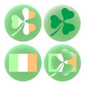 Vector EPS10 illustration Saint Patricks Day set of four round badges with Irish flag and shamrock clover