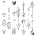 Vector ethnic Arrows set in zentangle design,concept. Hand drawn Royalty Free Stock Photo