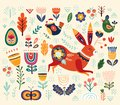 Vector ethnic easter pattern with hare and decorative floral elements