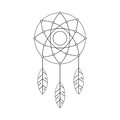 Vector ethnic illustration with American Indians dreamcatcher Royalty Free Stock Photo
