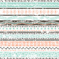 Vector ethnic seamless pattern. Hand drawn tribal striped orname