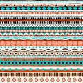 Vector ethnic seamless pattern. Hand drawn tribal striped ornament. Royalty Free Stock Photo