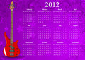 Vector European calendar 2012 with bass guitar Royalty Free Stock Images