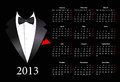 Vector European calendar 2013 with elegant suit Royalty Free Stock Photography