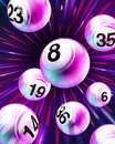 Vector Exploding Purple Bingo / Lottery Number Balls Royalty Free Stock Photo