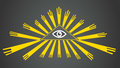 Vector Eye of Providence. The all-seeing eye of golden rays. Sign, symbol. Radiant delta. Vector illustration. Royalty Free Stock Photo