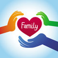 Vector family concept heart shape and hands Stock Photo