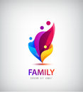 Vector family with kids, 4 people group logo.
