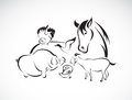 Vector farm animal set on white background