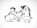 Vector Farm Animal Set On Whit...