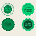Vector farm badge set of Fresh Organic elements. Vintage style labels for natural food and drink, products, biodynamic agriculture