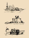 Vector farm landscapes illustrations set. Sketches of castle, homestead in fields and hills. Russian countryside. Royalty Free Stock Photo