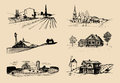 Vector farm landscapes illustrations set. Sketches of villa, homestead in fields and hills. Russian countryside. Royalty Free Stock Photo