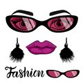 Vector Fashion card with a set of illustrations: girl face with make up and trend sunglasses. Royalty Free Stock Photo