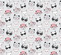 Vector fashion cat seamless pattern. Cute kitten illustration in