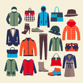 Vector fashion clothes and accessorie illustration men woman set collection Stock Photo