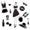 Vector fashion collection,set. Girls stylish accessory, cosmetic, woman stuff. Dress, bag,lipstick,sunglass,hat, underwear, hair a