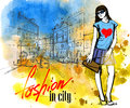 Vector fashion girl hand drawn picture of Royalty Free Stock Photo