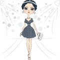 Vector fashion girl top model on the catwalk beautiful in a smart dress with polka dot pattern and with clutch Stock Image