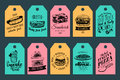 Vector fast food tags. Burgers, hot dogs, sandwich etc. illustrations. Vintage hand drawn quick meals labels collection. Royalty Free Stock Photo
