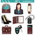 Vector female accessories set on white background Royalty Free Stock Photos