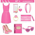 Vector female accessories set on white background Stock Photography