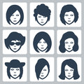 Vector female faces icons set Royalty Free Stock Images