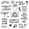 Vector feminism symbols icon set. Femenist movement