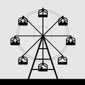 Vector of ferris wheel black and white color Stock Images