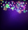 Vector festive background of luminous garlands of lights in the Royalty Free Stock Photo