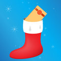 Vector festive sock with a gift for christmas with snowflakes and ribbon Stock Image