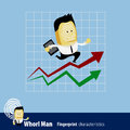 Vector of fingerprint man characteristics series business man a businessman running up rising financial chart about to reach his Stock Image