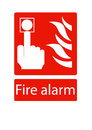 Vector fire alarm sign present with isolated on red background Stock Images