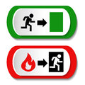 Vector fire exit signs Royalty Free Stock Photo
