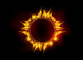Vector fire flame circle illustration of burning on black dark background Royalty Free Stock Images