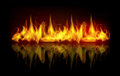 Vector fire flames illustration of burning flame on black dark background with reflection Royalty Free Stock Photography