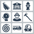 Vector fire station icons set extinguisher house hydrant alarm fireman axe and hose truck gas mask Stock Photos