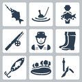 Vector fishing icons set fish on a hook float big fish rod fisherman wading boots spoon bait lake worm on a hook Royalty Free Stock Photography