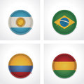 Vector flags of countries as fabric badges Royalty Free Stock Photos