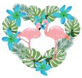 Vector Flamingo, Tropical Flowers and Palm Leaves Heart Shape Royalty Free Stock Photo